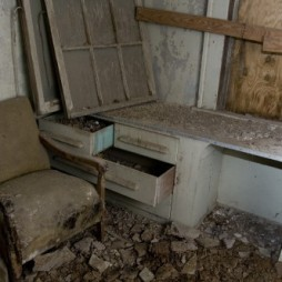 Many of the rooms have built in desks and drawers.