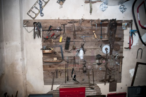 Tools on a basement wall