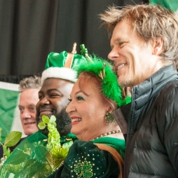 Kevin and Michael Bacon with the King and Queen of the Parade