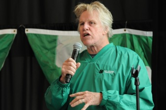 Gary Busey talks at the Parade luncheon