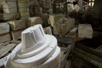 Arkansas Democrat-Gazette photo by Cary Jenkins Plaster molds once used to make Camark pottery Camark Pottery Factory, Camden Arkansas