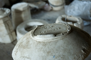 Arkansas Democrat-Gazette photo by Cary Jenkins The bottom of a plaster mold which shows the pottery's markCamark Pottery Factory, Camden Arkansas