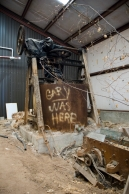 Arkansas Democrat-Gazette photo by Cary Jenkins A clay mixer in the last building built on the Camark Pottery groundsCamark Pottery Factory, Camden Arkansas
